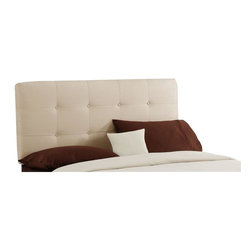 Skyline Furniture - Tufted Wooden Headboard w Upholstery (Queen: 62 W x 4 D x 54 H) - Choose Size: Queen: 62 W x 4 D x 54 HAdd a cozy feel to your bedroom with the addition of this oatmeal colored fabric headboard. This upholstered piece offers soft support as you relax in bed and pairs well with most color schemes. 2 rows of matching buttons form a tufted design for even more decorative appeal. Metal legs. Fabric headboard. Plush polyurethane foam cotton. Works well with lots of bedroom furniture settings. Bolts easily to any standard bed frame. Guarantees product from manufacturers defects and does not include fabric. One year limited warranty. Made in U.S.A. Made from pine wood