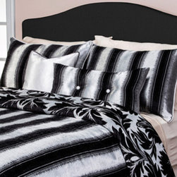 Siscovers - Tinseltown Multi-Colored Six Piece Queen Duvet Set - - Old Hollywood Glamour Collection  - Set Includes: Duvet - 94x98, Two Queen Shams - 30x20, One Decorative Pillow - 16x16, One Decorative Pillow - 26x14  - Inserts: Polyester  - Duvet Material: 60% Polyester 40% Rayon  - Sham Material: 60% Polyester 40% Rayon  - Pillow Material: 60% Polyester 40% Cotton  - Workmanship and materials for the life of the product. SIScovers cannot be responsible for normal fabric wear, sun damage, or damage caused by misuse  - Reversible Duvet and Shams  - Care Instructions: Dry Clean Only  - Made in USA of Fabric made in China Siscovers - TINS-XDUQN6