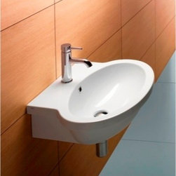 "GSI - Gorgeous Oval Shaped Wall Mounted Bathroom Sink by GSI - Contemporary white ceramic bathroom sink available with single faucet hole (as shown), no hole, or 3 holes. Wall mounted oval sink includes overflow. Sink designed and made in Italy by GSI. Sink dimensions: 23.60"" (width), 7.90"" (height), 20.50"" (depth)"
