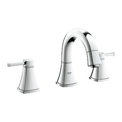 "Grohe - Grohe 20418000 Chrome Grandera Series Two Handle Widespread Lav Faucet - Grohe Grandera three hole bath faucet 20418 000. This bath faucet features a 3-hole installation, two lever handles for precise volume and temperature control, Grohe's WaterCare technology for a 1.5 GPM flow rate, a 1/2"" cartridge, pressure resistant flexible connection hoses, and a 1-1/4"" pop-up waste assembly. This model comes in a bright, StarLight Chrome finish."