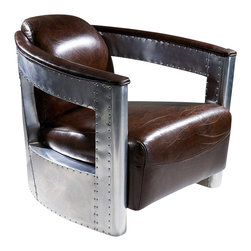 Coupe38 Modern Top Grain Leather Chair - Coupe38 Brown Top Grain Leather Club Chair