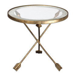 Uttermost - Aero Glass Top Accent Table - Those must be Cupid's arrows forming the base, because you can't help but fall in love with this delightful accent table. Made from forged iron with an antiqued gold leaf finish, this table features a tempered glass top encircled by an antiqued mirror accent.