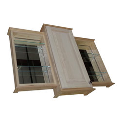 "WG Wood Products - 18/24/18"" Ashley Triple Series On-The-Wall Bath Cabinet, Unfinished, 31.5""h X 43 - Mounts On-The-Wall with built in cleats inside for an easy installation. Three fully adjustable glass shelves in each section. Raised Panel style door sits on concealed hinges, door is left undrilled for a knob or handle so you can mount it to open either direction. Both side doors must open to the outside. Perfect as a medicine cabinet, spice cabinet, or storage cabinet anywhere. Overall Measurements are 31.5h x 43.25w x 4""d. The center cabinet is 3.5""Deep inside. The two side cabinets are 2.5""Deep inside. Natural pine finish can be painted or stained. Solid maple doors. Proudly made in the USA."