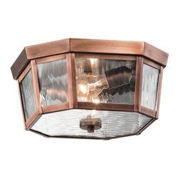 Kichler 2-Light Outdoor Ceiling - Antique Copper Exterior - Two Light Outdoor Ceiling