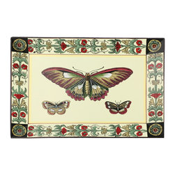 Brandi Renee Designs - Set of 2 Porcelain Plates, White Whimsical Dragonflies - If you love the whimsical look of butterflies, you will love this pair of porcelain plates with a hand painted decorative border.