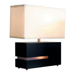 Nova Lighting - Nova Lighting Zen Contemporary Reclining Table Lamp X-CD4820 - From the Zen Collection, this Nova Lighting contemporary table lamp features a larger light within the rectangular shade as well as a smaller accent light within the base for added flair. The sleek Dark Brown Wood finish and coordinating frosted acrylic cut-out accent both compliment the light linen-like coloring of the diffuser, pulling the look together.