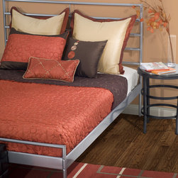 Rizzy Home - Cali Quilted Reversible Cap Bedding Set in Rust / Brown - Brilliant coral, dark chocolate and warm cream combine to make this cap bedding collection a glowing centerpiece. Custom features from quilted patterns, shimmering fabrics and exquisite embroidery add texture to this ensemble. Features: -Available in Twin, Full, Queen and King sizes. -Twin bedding set includes cap quilt, 1 standard sham and 1 decorative pillow. -Full bedding set includes cap quilt, 2 standard shams and 1 decorative Pillow. -Queen bedding set includes cap quilt, 2 Euro shams, 2 standard shams, 2 decorative pillows and 1 kidney pillow. -King bedding set includes cap quilt, 3 Euro shams, 2 king shams, 2 decorative pillows and 1 kidney pillow. -Includes fillers for accent pillows. -Color: Rust / Brown. -Material: 100% Polyester. -100% Siliconized polyester fiber fillers. -Standard and Euro shams are flat. -Hand wash pillows. -Machine wash separately.