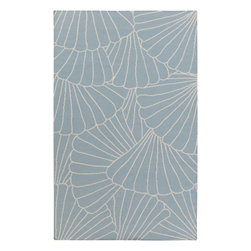 """Surya - Hand Woven Yacht Club Wool Rug YTC-2022 - 3'3"""" x 5'3"""" - Intricate detail and naturally nautical design merge magnificently to fashion this stunning rug. Featuring an exquisitely carved clam shell design, this piece will easily emanate a sense of refined charm in any space."""