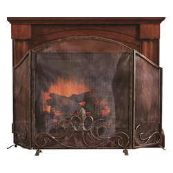 "SPI - Fleur de Lis Fireplace Screen - -Size: 36.5"" H x 59"" W x 7"" D"