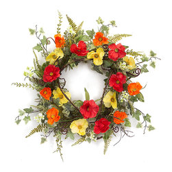 Melrose - Poppy & Ivy Wreath - Add a colorful flourish to your foyer with this unique wreath.   24'' diameter 100% polyester Imported