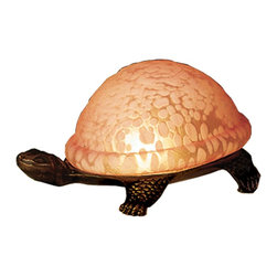 Meyda Tiffany - Meyda Tiffany Lamps Table Lamp in Tiffany Items - Shown in picture: Turtle Art Glass Accent Lamp; A Land Turtle Is Transformed Into A Charming Accent Lamp Featuring A Rosy Pink Mottled Glass Shade That Rests On A Cast Metal Base.