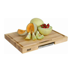 John Boos - Newton Prep Master Reversible Cutting Board - Includes removable stainless steel condiment pan and board cream with beeswax. Routed and sloped juice groove. Premium quality renewable and sustainable hardwoods. Edge grain construction. Warranty: One year against manufacturing defects. Made from solid northern hard rock maple. Made in USA. Pan: 8.5 in. L x 5.75 in. W x 1.13 in. H. Overall: 24 in. L x 18 in. W x 2.25 in. H (30 lbs.)