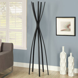 Monarch - Satin Black Metal 72in.H Contemporary Coat Rack - Bring fashion and style to your home with this unique satin black coat rack. This beautifully designed coat rack is more like a piece of art with ample hooks to hang your coats, hats and even your umbrella.