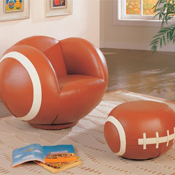 Large Kids Football Chair - Imitating the look of a football, this large kids football chair will create a fun, exciting, and unique look that friends will admire. Pair with the football ottoman for a complete athletic appeal. Baseball, soccer ball, and baseball chairs and ottomans are also available.