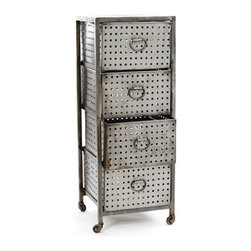 Industrial 4 Drawer Bin - Storage gets great vintage modern style with this four-drawer steel cabinet. If you don't need quite this much, it also comes in smaller versions. Whether you want to tuck away your unmentionables, office supplies, or your tools, this rolling cabinet is a great solution.