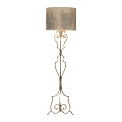 """Kathy Kuo Home - Savon Printed Paris Shade Antique Gray Wrought Iron Floor Lamp - This attractive 71"""" floor lamp is great for your favorite reading chair. Curl up next to a warm fire and allow the light to cast the perfect shades over your novel. Also choose your shade for total customization of your lamp. Please email us with your choice between printed Paris linen, charcoal, natural linen or white."""