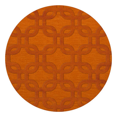 """Dalyn Rugs - Dalyn Rugs Dover DV7 Orange Rug DV7OR10RO - """"Luxury"""", made in the USA. Stylish, tonal, geometric and floral designs. Textural cut and loop pile. 100% premium wool."""