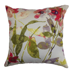 """The Pillow Collection - Naryany Floral Pillow Berry 18"""" x 18"""" - Freshen up your furniture pieces by adorning this pretty accent pillow. A lovely floral pattern in shades of purple, red, green, yellow and white is highlighted in this square pillow. This decor pillow adds a breathtaking detail to your interiors when mixed with other patterns and solids. This 18"""" pillow is made from 100% plush cotton fabric, which ensures comfort and long lasting quality. Hidden zipper closure for easy cover removal.  Knife edge finish on all four sides.  Reversible pillow with the same fabric on the back side.  Spot cleaning suggested."""