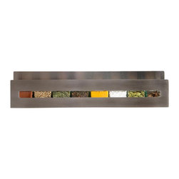 DESU DESIGN - DESU DESIGN Aperture Spice Rack - Variety may be the spice of life, but what if it goes both ways? This playful, peek-a-boo spice rack is tempered by the single sheet of stainless steel that composes it. What you get is a colorful piece with a unique modern design that will fit well in either a serious kitchen, or one with more of a whimsical decor.