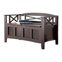 Holly & Martin - Branson Storage Bench - Features internal storage and a split seat which serves as two hinged lids for easy access. Painted black finish. Rubbed edges provide a beautiful distressed look. Max weight capacity: 250 lbs.. Constructed of MDF and pine. Assembly required. 45 in. W x 19.25 in. D x 26.25 in. H. Interior space: 38 in. W x 16.5 in. D x 10 in. H. Space beneath bench: 3.25 in. HThis charming bench is just what your home needs - an accent piece, an extra seat, and hidden storage too! The simple inset panels, beautiful use of negative space, and curved back of this black bench give you an instant feeling of being right at home. This bench features a low profile for an unobtrusive addition to any room, but inside holds a large interior space for added storage in convenient places. The seat is split in half to act as dual hinged doors for access to the storage beneath. This beautiful contemporary bench works wonders in the entryway, living room or even at the foot of the bed. The style of this black bench blends well with homes of virtually any style of decor.