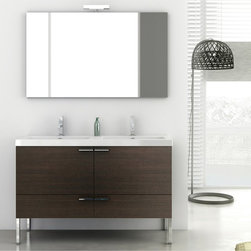 ACF - 47 Inch Bathroom Vanity Set - Set Includes: . Vanity Cabinet (2 doors, 2 drawers). Fitted ceramic sink (47.2 inch x 18 inch ). Mirror (W 47.2 inch x H 28.3 inch ). Vanity light. Kit of 4 polished chrome feet (7.9 inch ). Vanity Set Features:. Vanity cabinet made of engineered wood. Cabinet features waterproof panels. Available in Wenge, Grey Oak Senlis, Larch Canapa, Glossy White. Cabinet features 2 doors and 2 soft-closing drawers. Faucet not included. Perfect for modern bathrooms. Made and designed in Italy. Includes manufacturer 5 year warranty.