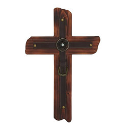 """Benzara - Smart Styled Shanghai Wood Metal Cross - Bring home this divine wood metal cross that will spread spirituality across. This wood metal cross will help you to display your love for god in a decorative way. Made of quality wood and metal, designed efficiently this cross will demonstrate your spirituality in a stylish way. You can add this cross to those bare surfaces of your wall. This cross can also be added to your temples etc.You will love to have this cross at your place. This cross will bring in the serene cool atmosphere. Your guests will love your divine spirit and appreciate your graceful style sense. This cross can be a great gift to that special ones who believe in theology. They will love to receive this lovely cross and cherish it forever. Own or gift one and make others smile away. Wood Metal Cross measures 16 inches (W) x1/2 inches (L) x24 inches (H); Made of quality wood and metal; Durable construction; Dimensions: 8""""L x 5""""W x 9""""H"""