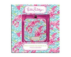 Lilly Pulitzer - Lilly Pulitzer Mobile Charger 8-Pin, Lobstah Roll - When your iphone needs extra boost to get through for rest of the day no worries, just find our Lilly Pulitzer Mobile Charger. This square Lilly Pulitzer battery extender charges iPhone up to 80% & is also compatible with iPods & iPads. Charger re-charges through USB 2.0 connection. Charger cord included.
