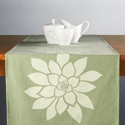 Bloom Modern Eco Green Table Runner - Our elegant Bloom table runner in heather green brings the beauty of the outdoors in. Perfect for entertaining or just everyday use! This floral table runner also makes a unique gift for garden lovers. Designed, hand printed, and fabricated in America.