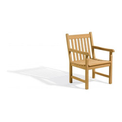 Oxford Garden - Classic Armchair - Made of dense and heavy shorea wood, this classic arm chair is ideal for rugged outdoor areas.  It is very sturdy yet graceful.  Our arm chair is very ample in width and makes an excellent dining table chair or an additon to a group setting.  This chair is made of shorea, a teak family wood that is more dense and heavy than teak.  Shorea requires no finishing and will not rot when left outdoors where rain and sun will damage other lesser quality woods.  Left untreated, shorea will weather to a soft warm shade of gray similar to the weathering of teak.  Sturdy mortise and tenon construction provides the highest quality joinery that will last for many years.  Original color can be maintained by applying a seasonal coat of teak oil.