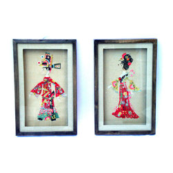 "Consigned Vintage Asian Couple in Traditional Costume Collage Puppet Shadowboxes - These exotic Asian Collage Puppet Shadowboxes contain a Couple in Traditional Costumes. glass and metal frame 16.5"" length x  10.5"" width x 1.75"