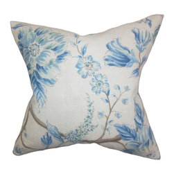"""The Pillow Collection - Ivria Floral Pillow Lake 18"""" x 18"""" - This pretty accent pillow offers a fresh and whimsical look to your home. This throw pillow features a floral pattern in shades of blue, brown and white. Crafted using a high-quality linen material, this 18"""" is ideal for indoor use. Decorate your sofa, bed or couch with a few pairs of this square pillow. Hidden zipper closure for easy cover removal.  Knife edge finish on all four sides.  Reversible pillow with the same fabric on the back side.  Spot cleaning suggested."""