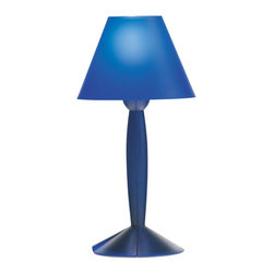 Flos Lighting - Miss Sissi Table Lamp - Miss Sissi table lamp features a blue or white finish. Features a polarized power cord with On/Off switch. One 40 watt, 120 volt, G16.5 candelabra base incandescent lamp included. General light distribution. UL listed. 4.33 inch diameter x 11.18 inch height.
