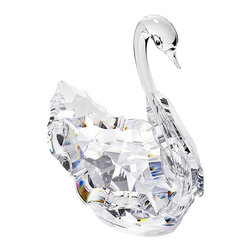 """Inviting Home - Cut Crystal Swan - cut crystal swan; 2.7"""" x 2.9""""H; The clear crystal swan is made of the finest Bohemian crystal from the Czech Republic. The crystal swan is made of a cut crystal with smooth crystal for its elegant neck. This exquisite crystal figurine is manufactured by Preciosa a world-class producer of fine crystal and comes with a certificate of authenticity. Preciosa hereby states that this product is not suitable for children under 13 years of age. Preciosa Crystal Figurines embody an outstanding example of skillful craftsmanship cut by machine with meticulous accuracy and the expertise of artisans who pay attention to precise details while putting these pieces together by hand. These pieces are crafted to provide a joy to those who view them while showing off its luster and sensational beauty. Each figurine is accompanied with a Certificate of Authenticity that certifies the genuineness of the Bohemian crystal of which it is made. The cut crystal swan makes a perfect gift for trinket collectors or who love all things crystal. This figurine also makes a wonderful wedding or Valentine's day gift. usually ships within 2 - 3 weeks"""