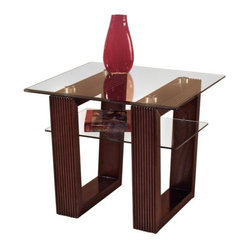 Magnussen Cordoba Wood and Glass End Table
