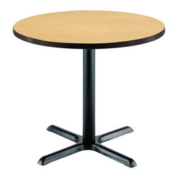 KFI Seating - 29 in. High Round Pedestal Table w X-Base (42 - Finish: 42 in. Dia-Dark MahoganyRound table. Single pedestal table. High pressure laminate top with a t-mold edge. The X-base and column are powder-coated black and made of steel. Pictured in Natural top finish. Height: 29 in. H