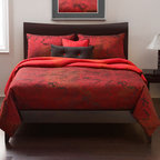 Siscovers - Cherry Blossom Brick Red Six Piece Queen Duvet Set - - Classic Ichibana design  - Set Includes: Duvet - 94x98, Two Queen Shams - 30x20, One Decorative Pillow - 16x16, One Decorative Pillow - 26x14  - Inserts: Polyester  - Duvet Material: 62% Rayon 32% Polyester  - Sham Material: 100% Polyester  - Pillow Material: 100% Polyester  - Workmanship and materials for the life of the product. SIScovers cannot be responsible for normal fabric wear, sun damage, or damage caused by misuse  - Reversible Duvet and Shams  - Care Instructions: Dry Clean Only  - Made in USA of Fabric made in China Siscovers - CBBR-XDUQN6