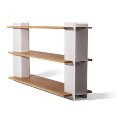 Industry West - Merlin Bookcase - The Merlin Bookcase is characterized by a dynamic combination of solid oak and lacquered stainless steel. This versatile rack provides two shelves for storage and display. It is also the perfect height to be used as a TV cabinet. The shelf's clean lines and mix of materials will add a refined contemporary feel to any space. Available in White with French Oak Shelves.