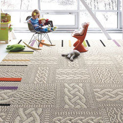 Just Plain Folk Carpet Tile, Linen - An intricate cable-knit sweater pattern in muted neutral tones provides visual warmth for your floors. The cable pattern placement on each tile is random and will not always align from tile to tile, so no two tiles are alike. Not all pattern variations may be shown in photography.