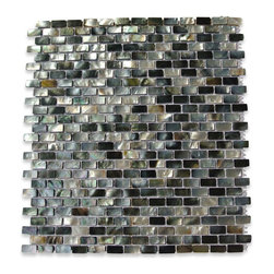 """GlassTileStore - Deep Sea Black Mini Brick Pattern Tile - Deep Sea Black Pearls Mini Brick Pattern Glass Tile             This captivating and rare mother of pearl tile in shades of iridescent black and white is artfully arranged in a classic brick pattern. The pearl shell glass will add a durability and lasting exquisiteness to your kitchen, or  fireplace  installation.         Chip Size: 10mm x 20mm   Color: Shades of Iridescent Black and White   Material: Pearl Shell Glass   Finish: Polished    Sold by the Sheet - each sheet measures 12"""" x 12"""" (1 sq. ft.)   Thickness: 2 mm   Please note each lot will vary from the next.   This tile is not recommended to be installed in a shower, shower floor or pools.            - Glass Tile -"""