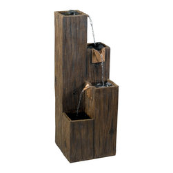 Kenroy - Kenroy 50007WDG Timber Indoor/Outdoor Flr Ftn - A rough hewn Wood Grain finish beams with a solid rustic charm on this 3 tiered waterfall.  Simulated copper finish spouts add a detailed hardware that directs water to each level.