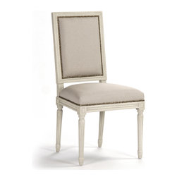 Kathy Kuo Home - Pair St. Germain French Country Antique Ivory Dining Side Chair - The antique finish on this pair of stately dining chairs gives them  a stately authority. With a straight, rectangular back and exquisitely detailed spindle legs, the St. Germain side chairs will add elegance to your French country dining room or Hollywood regency home. Item sold as a pair.