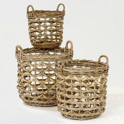 Jillian Totes | Decorative Accessories| Home Decor | World Market - These baskets from Kubu are for collecting those dirty shoes.