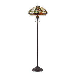 Z-Lite - Z-Lite Z18-34FL Templeton 3 Light Floor Lamps in Chestnut Bronze - This floor lamp pale cream, dome shaped shades with unique patterns using motifs of green and red accents to create a traditional look with a bold edge. Intricately designed hardware finished in chestnut bronze complete this look.