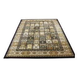 Rug - ~7 ft. x 10 ft. Traditional Persian Modern Brown Living Room Rug, Machine Made - Large Living Room Area Rug