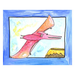 "Oh How Cute Kids by Serena Bowman - Flying Dino, Ready To Hang Canvas Kid's Wall Decor, 16 X 20 - I had no idea what the name of  this dino was - my kid who reads, comes up to me and tells me that is a Pteranodon and  how it is pronounced ( P is silent- why???)  ""also known as the Flying Lizard"" I am told.   I told him all I know was when I was kid - Scooby Doo called it a TERODACTYL and that was good enough for me- He just stares at me and tells me it is  PTERODACTYL -  I told him  I can still ground him for no reason  ( he is 8 so he doesn't know any better)- so I win!"