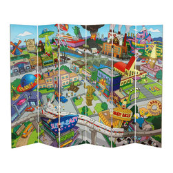 Oriental Furniture - 6 ft. Tall Double Sided Springfield Town Map Canvas Room Divider - Extra wide limited edition six panel folding screen, with a cartoon cartographer's map of Springfield, mythical home of America's longest running scripted television program, the Simpsons. Reproduced on front and back with beautiful color and extraordinary detail, a remarkable work of graphic art and a wonderful, whimsical decorative accent.