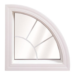 Geometric & Specialty Windows - Wellington Quarter Arch Window; shown in White with grids.