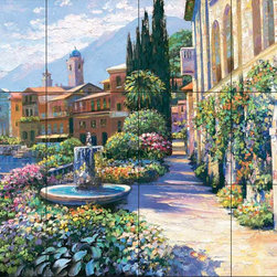 The Tile Mural Store (USA) - Tile Mural - Splendor Of Italy - Kitchen Backsplash Ideas - This beautiful artwork by Howard Behrens has been digitally reproduced for tiles and depicts an Italian waterfront garden.  This garden tile mural would be perfect as part of your kitchen backsplash tile project or your tub and shower surround bathroom tile project. Garden images on tiles add a unique element to your tiling project and are a great kitchen backsplash idea. Use a garden scene tile mural for a wall tile project in any room in your home where you want to add interesting wall tile.