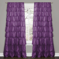 Lush Decor - Lush Decor Purple 84-inch Ruffle Curtain Panel - Turn any room from ordinary to incredibly special when you add this ruffled window curtain. Pretty, feminine and flexible, the curtain features beautifully flowing layers of brushed poly with hand-constructed ruffle details.