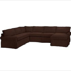 """PB Basic Left 4-Piece Chaise Sectional Slipcover, everydaysuede(TM) Mahogany - Designed exclusively for our PB Basic Sectional, these easy-care slipcovers have a casual drape, retain their smooth fit, and remove easily for cleaning. Select """"Living Room"""" in our {{link path='http://potterybarn.icovia.com/icovia.aspx' class='popup' width='900' height='700'}}Room Planner{{/link}} to select a configuration that's ideal for your space. This item can also be customized with your choice of over {{link path='pages/popups/fab_leather_popup.html' class='popup' width='720' height='800'}}80 custom fabrics and colors{{/link}}. For details and pricing on custom fabrics, please call us at 1.800.840.3658 or click Live Help. All slipcover fabrics are hand selected for softness, quality and durability. {{link path='pages/popups/sectionalsheet.html' class='popup' width='720' height='800'}}Left-arm or right-arm configuration{{/link}} is determined by the location of the arm on the love seat as you face the piece. This is a special-order item and ships directly from the manufacturer. To view our order and return policy, click on the Shipping Info tab above."""